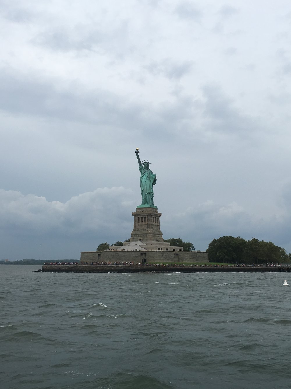 The (zoomed in) view from the Staten Island Ferry of The Statue of Liberty