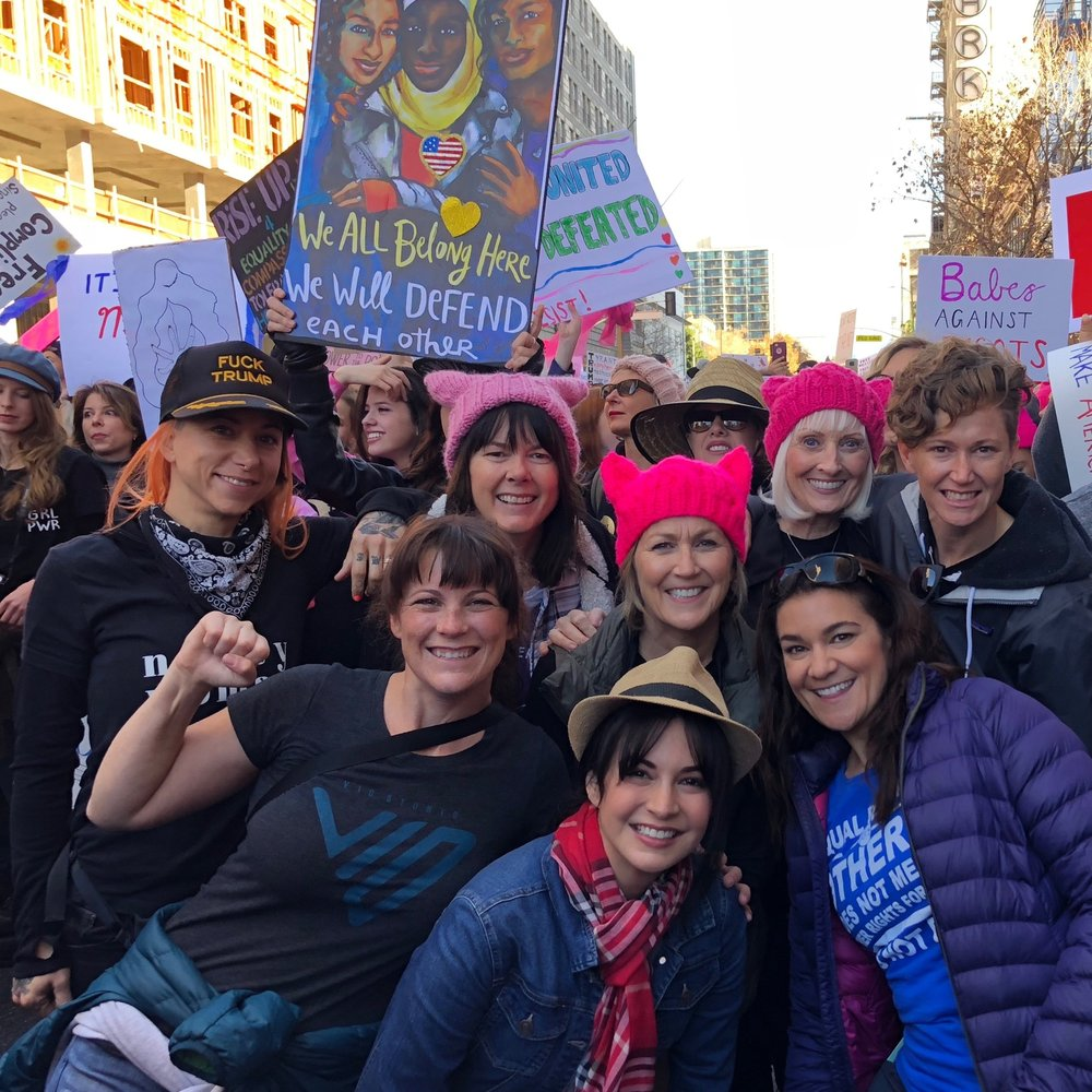 Membership First National and LA Local Board Member, Marie Fink joins stuntwomen Hannah Betts, Audi Resendez, and Jessica Harbeck at The 2018 #WomensMarch in Los Angeles