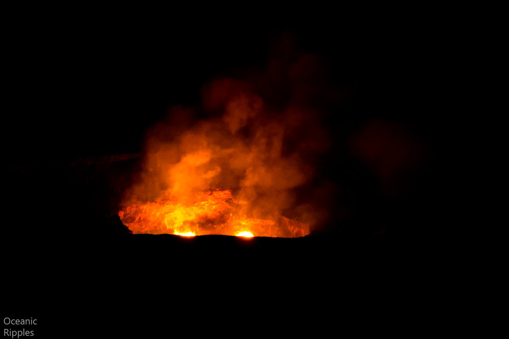 Lava in Hawaii at night