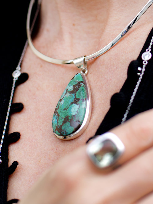 Green chrysocolla pendant in silver brina becs green chrysocolla pendant in silver mozeypictures Images