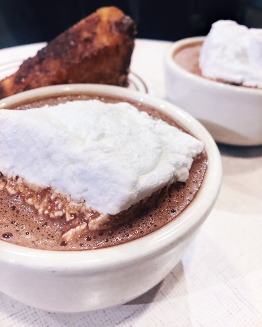 City Bakery's hot chocolate & caramelized french toast.