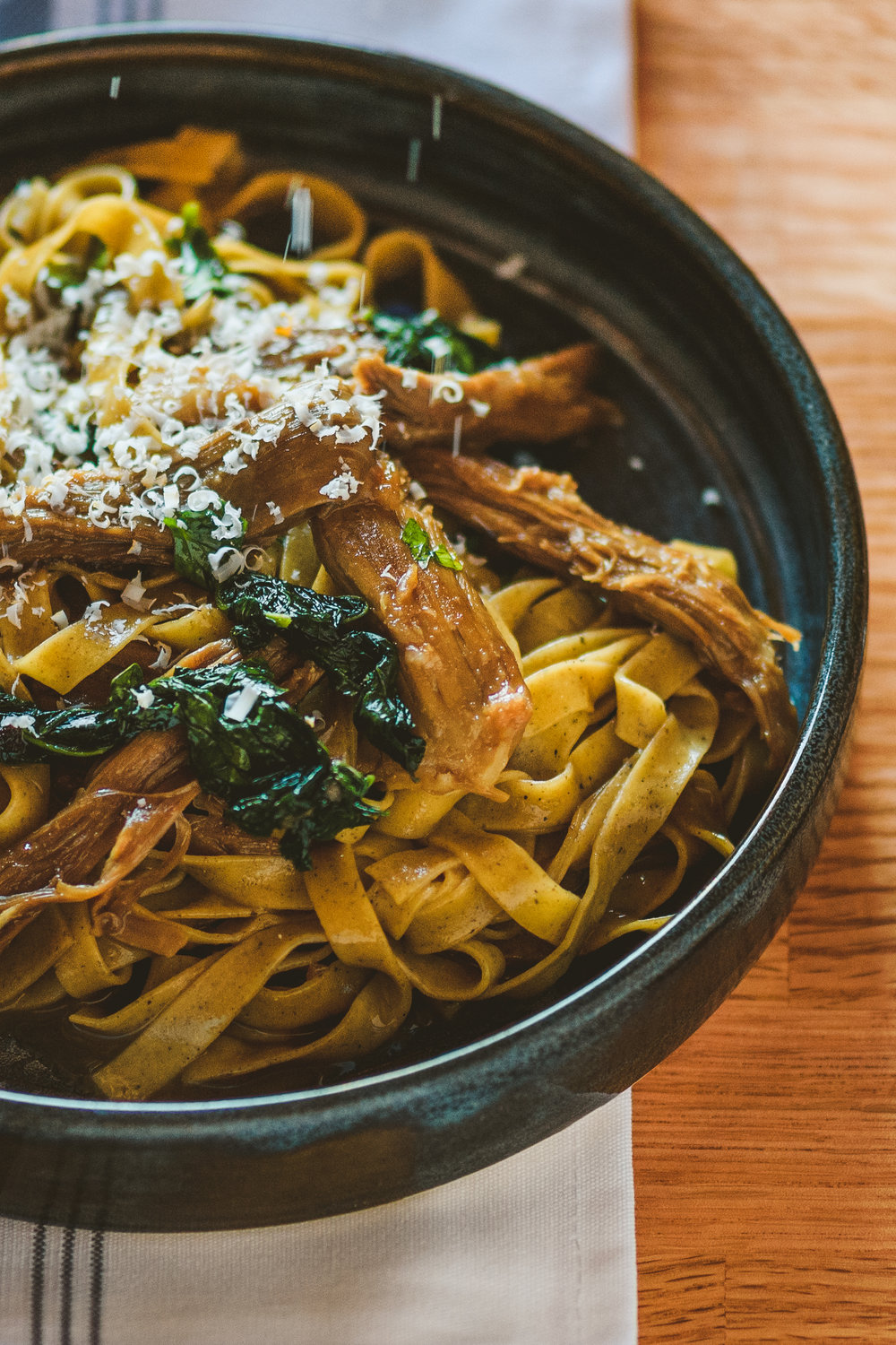 Tagliatelli Grano Arso with lamb shoulder, kale, and smoked ricotta salata.JPG