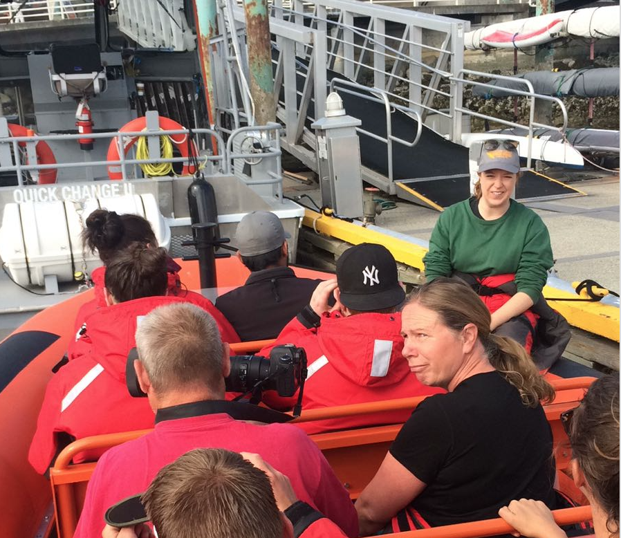 As usual, our day started with a safety briefing (and a few giggles!) before leaving the dock. Photo by Natalie Reichenbacher
