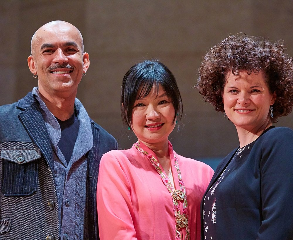 Su Lian Tan (center)   with    Claudio Medeiros (left), Middlebury College Associate Professor of Theater, and Stéphanie Pothier (right), of Opéra de Montréal.  Photograph by Todd Balfour.