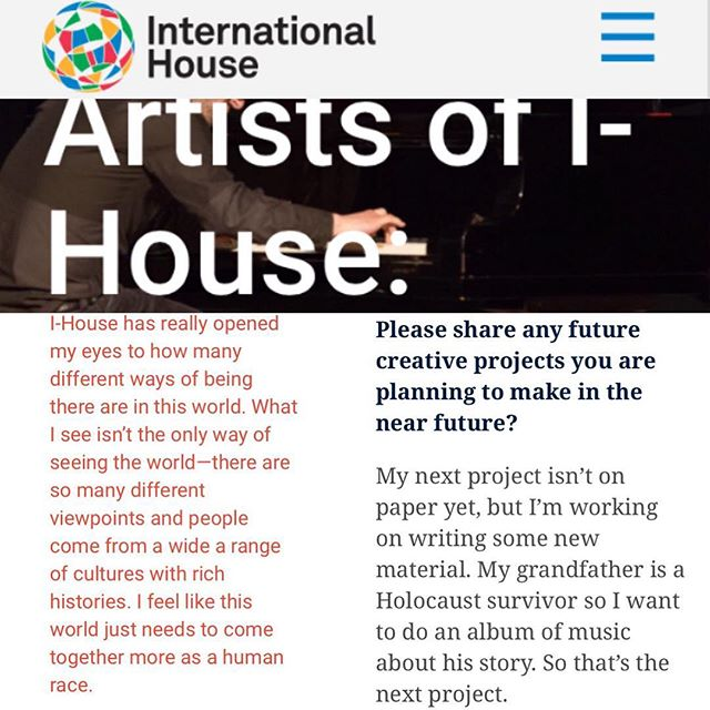 looking for apartments this weekend made me sentimental about leaving @ihousenyc soon.... i ll really miss this special place.... and it made me remember this recent #artistsofihouse interview i gave for this writeup.... its up on the i house web site if you want to read the whole thing! #jazzpianist #jazz #blues #jazzpiano #jazzpianist #nycjazz #musicreview #jazzreview #jazzblog @lydia_liebs PR . . . . .  #NYC  #swing  #music  #musician  #jazzband  #jazztrio  #jazzmusician #jazzcombo  #musicianslife #musiclife  #instagram  #instamusic  #instadaily  #insta #jazzpianist  #watch @msm.nyc