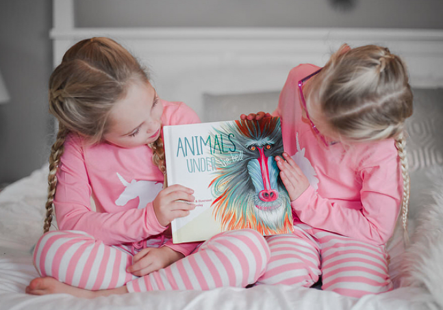 "Lifestyle & Mom Blogger Portia Smith's two sweet daughters with ""Animals Under the Bed!"" (Photo credit: Portia Smith)"