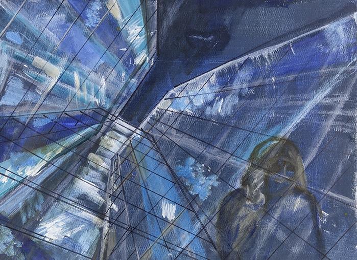 Looking Up II, Mixed Media on Canvas