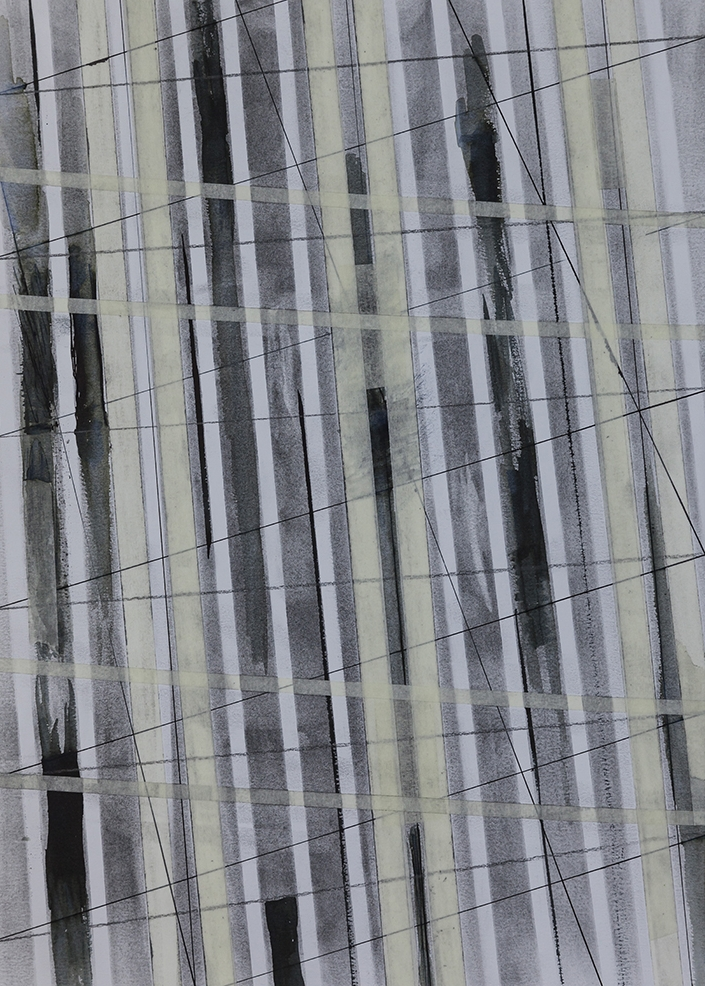 Window on the World II, Charcoal & Tape on Paper