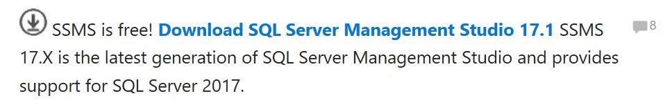 Click on the Download SQL Server Management Studio 17.1 link.