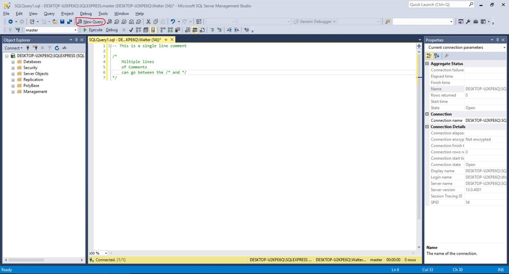 New Query window showing how to create single and multiple line comments