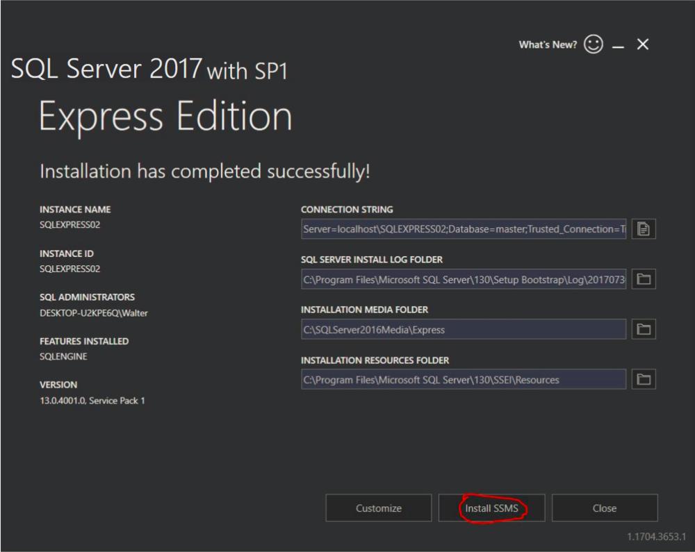Select  Install SSMS  to install SQL Server Management Studio