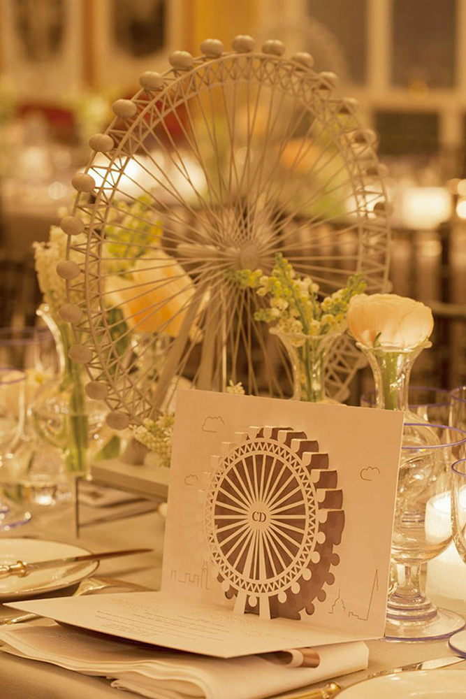 Table setting with pop-up menu.