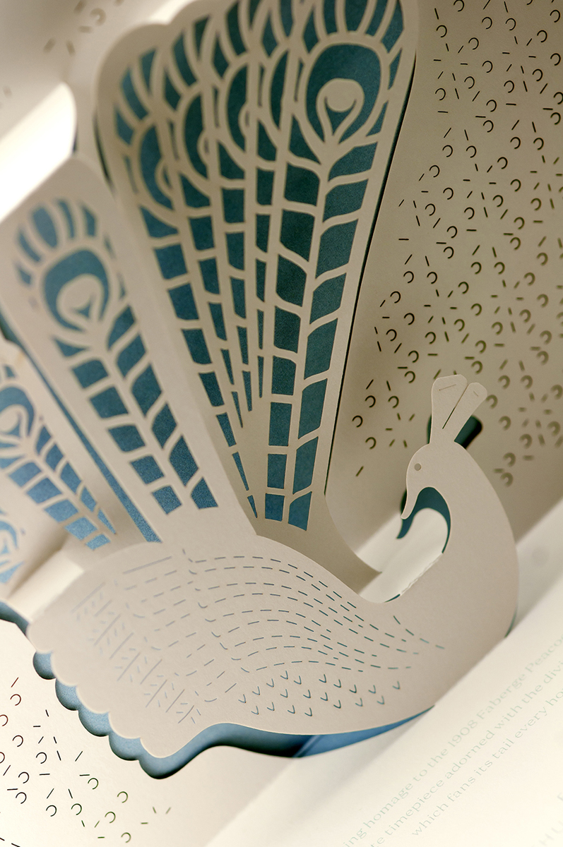 Detail of Lady Compliquée Peacock laser-cutting.