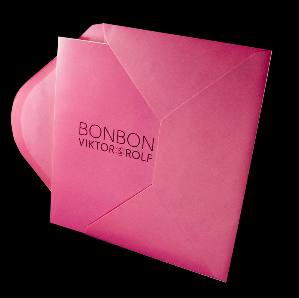 Digital print cover with pink envelope.