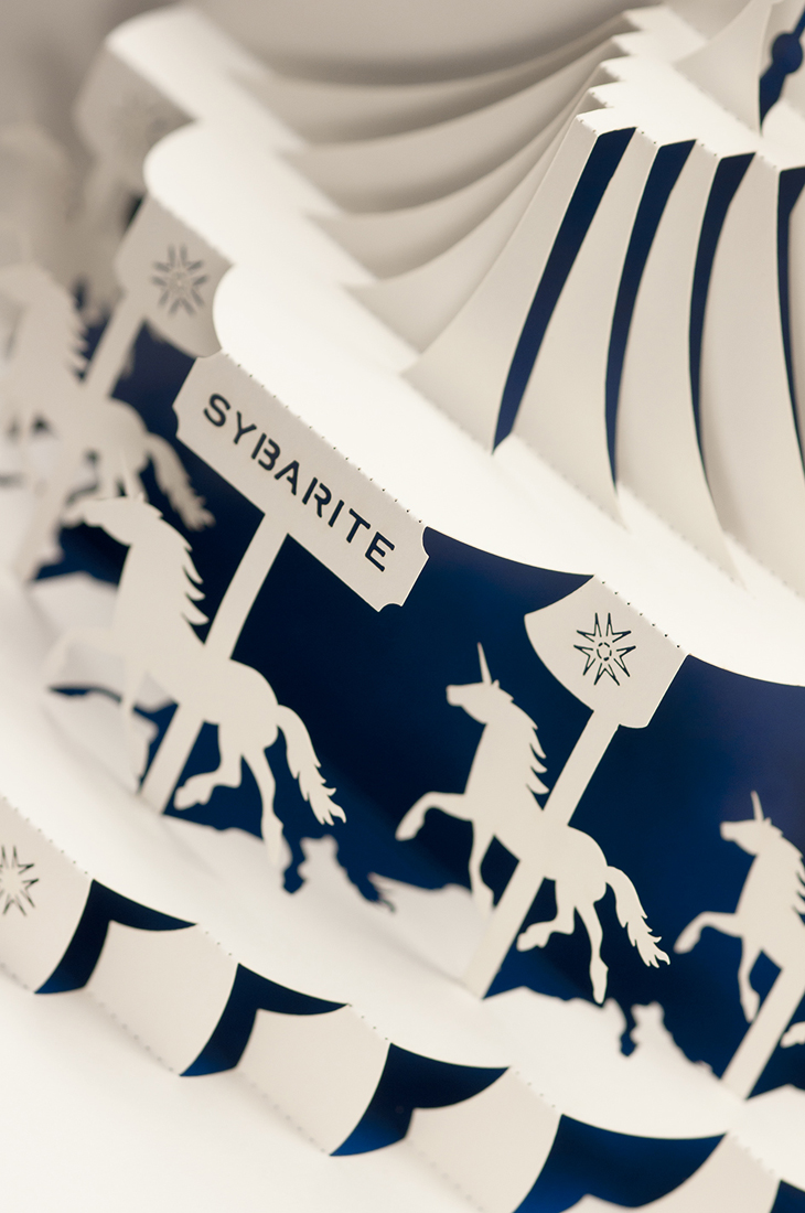 Detail shot of laser-cut carousel.