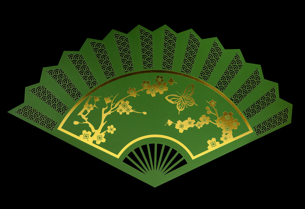 Laser-cut oriental fan menu for Madama Butterfly dinner at the Royal Opera House. Front.
