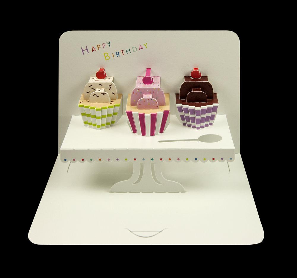 Illustrative 'Happy Birthday' cupcakes pop-up card