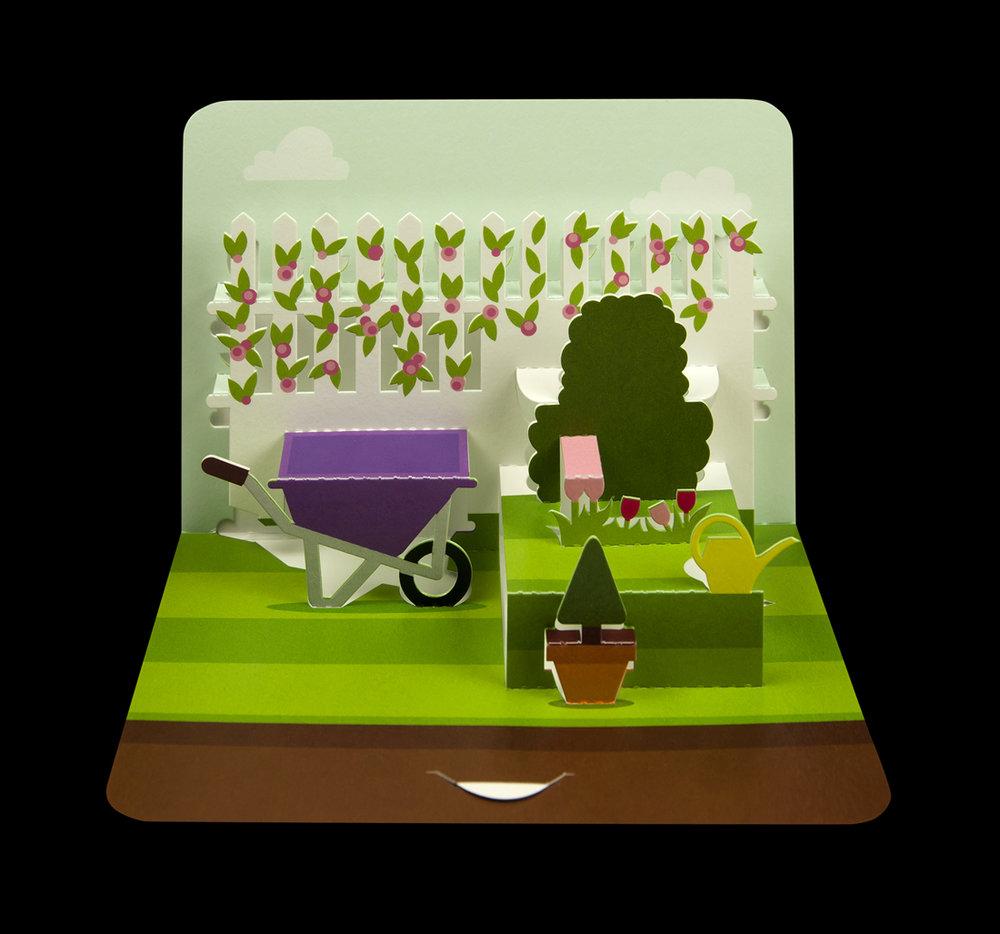 Illustrative scenic gardening pop-up card