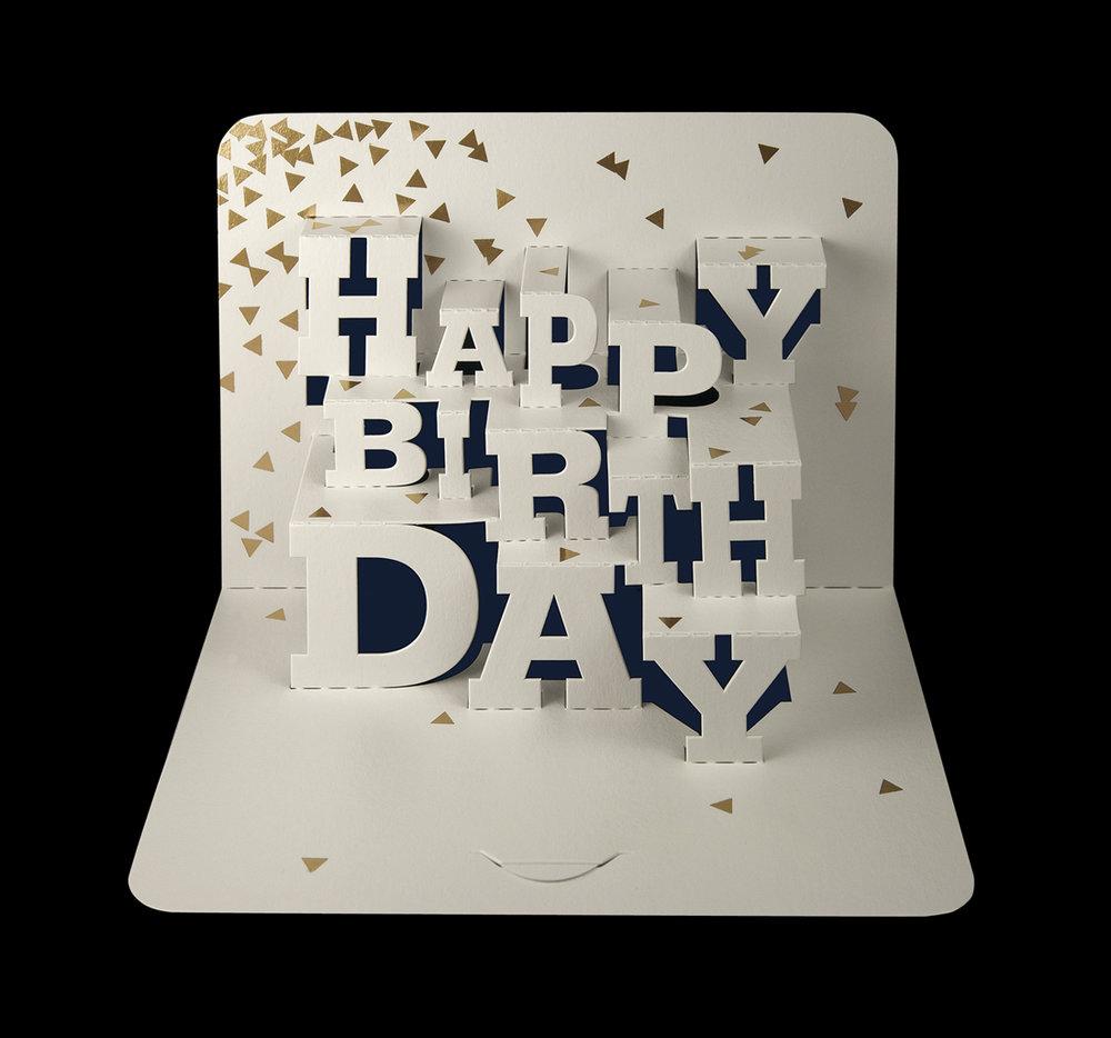 Typographic 'Happy Birthday' pop-up card