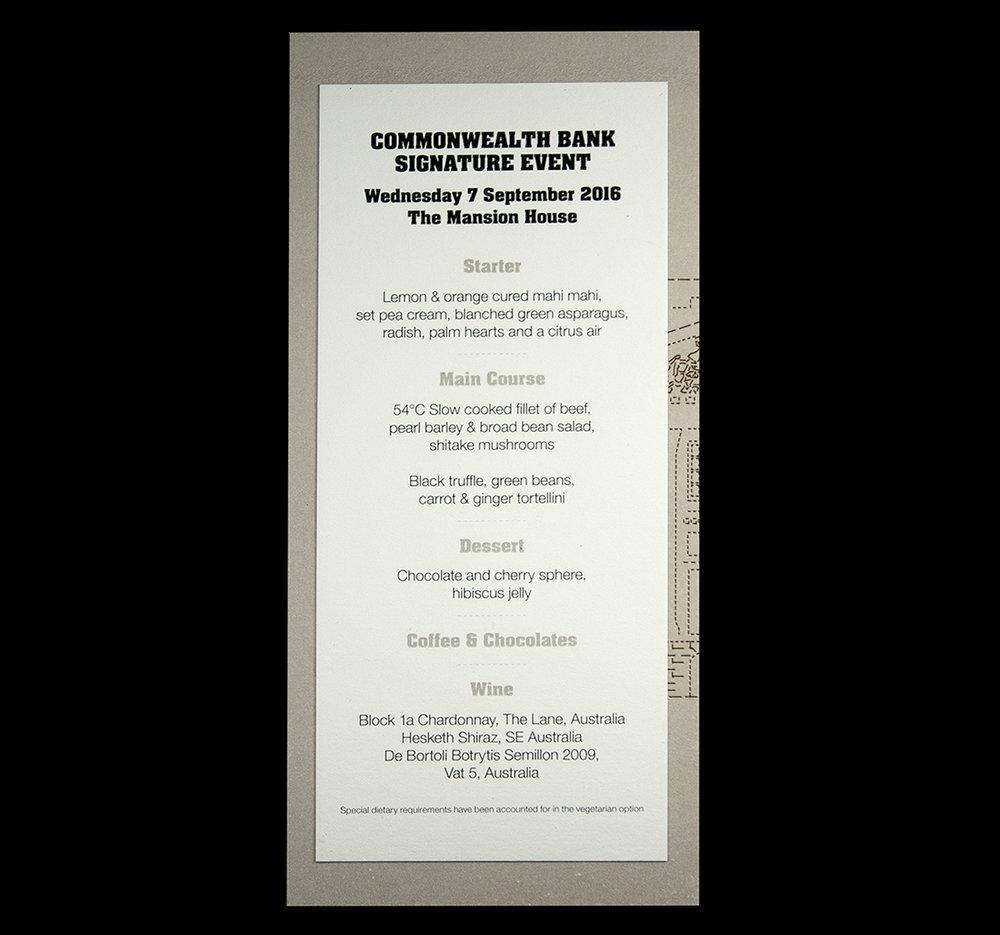 Laser-cut menu back.