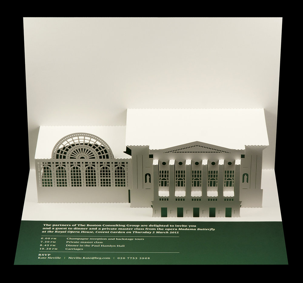 Royal Opera House pop-up card with bespoke printed band across the base.