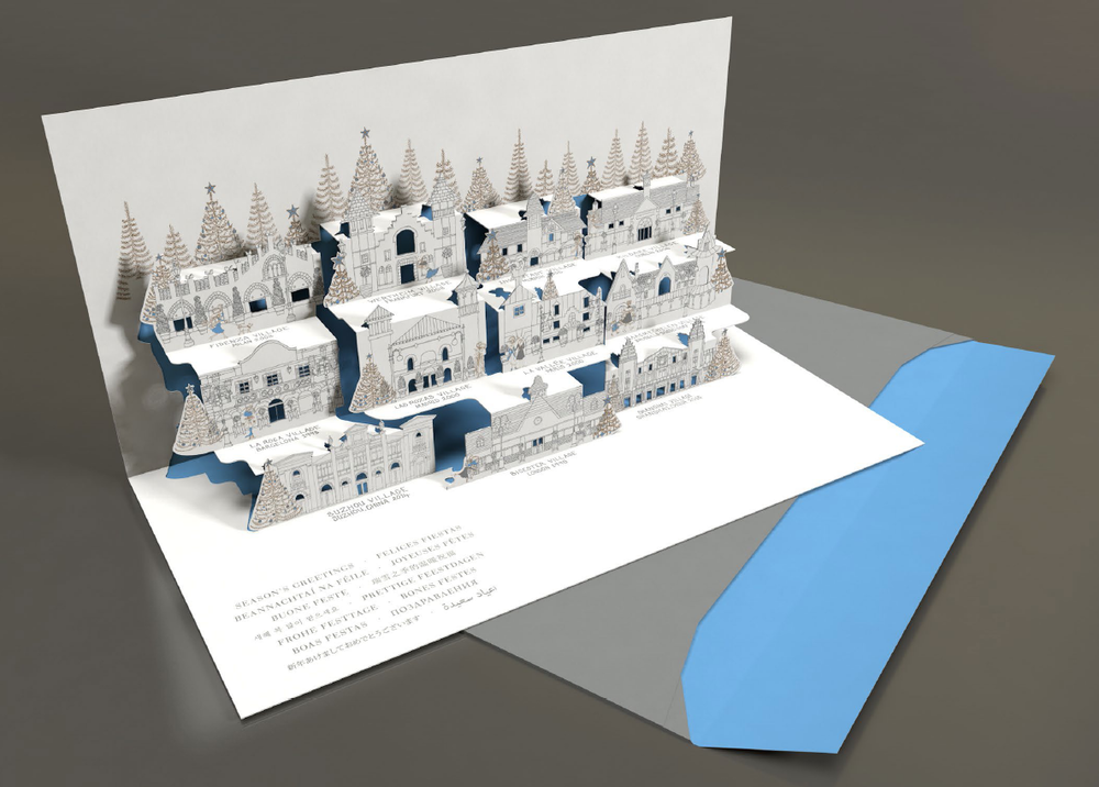 Client supplied computer render of a pop-up card which doesn't work in reality from a paper engineering perspective
