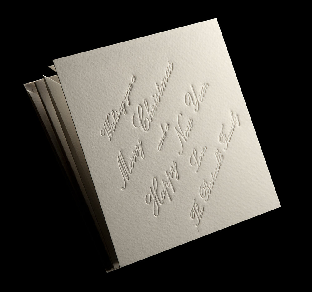 Blind embossed front cover