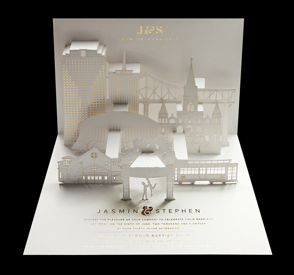 New Orleans wedding invitation  (Design by Stephen Edmond. Paper engineering by Paper Tango)