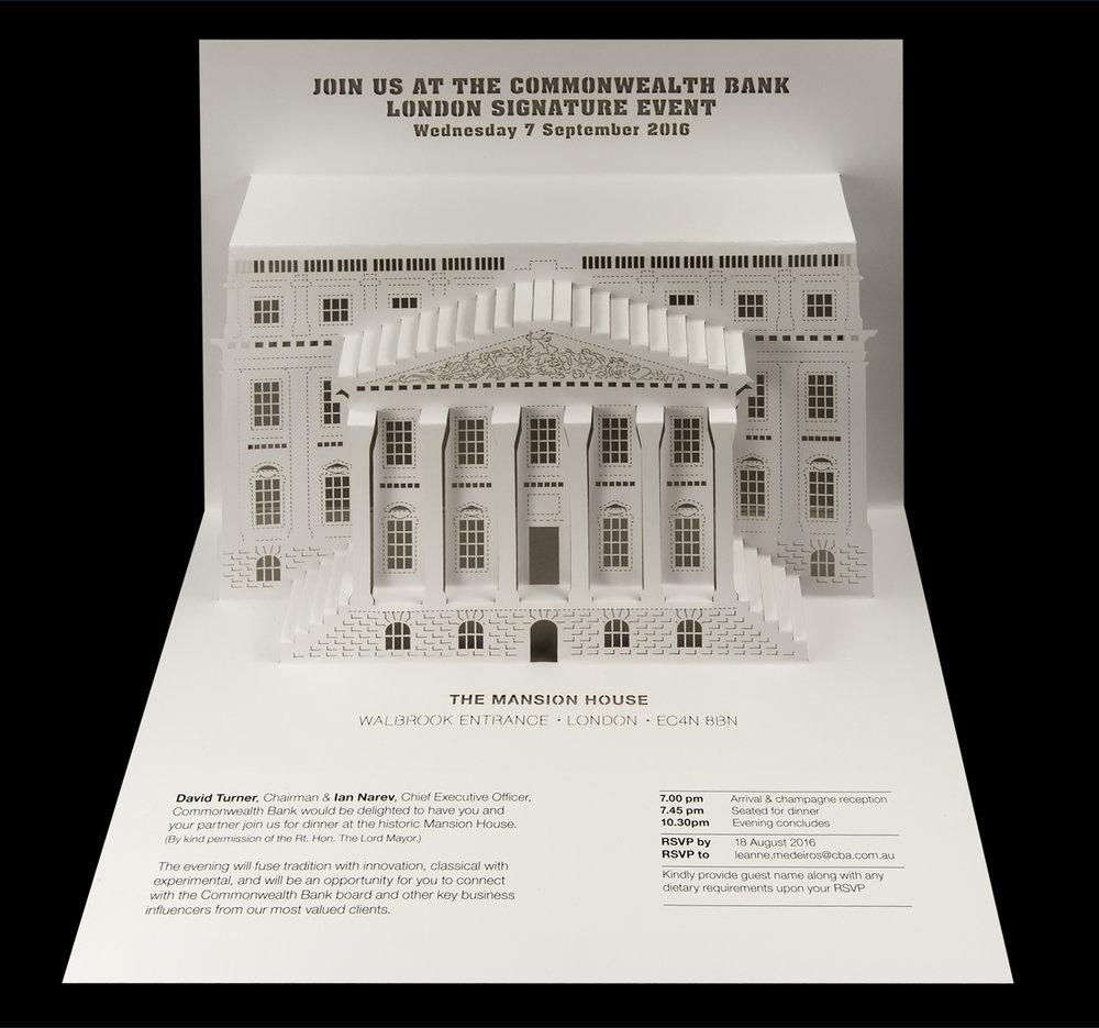 Commonwealth Bank - London Signature Event pop-up invitation