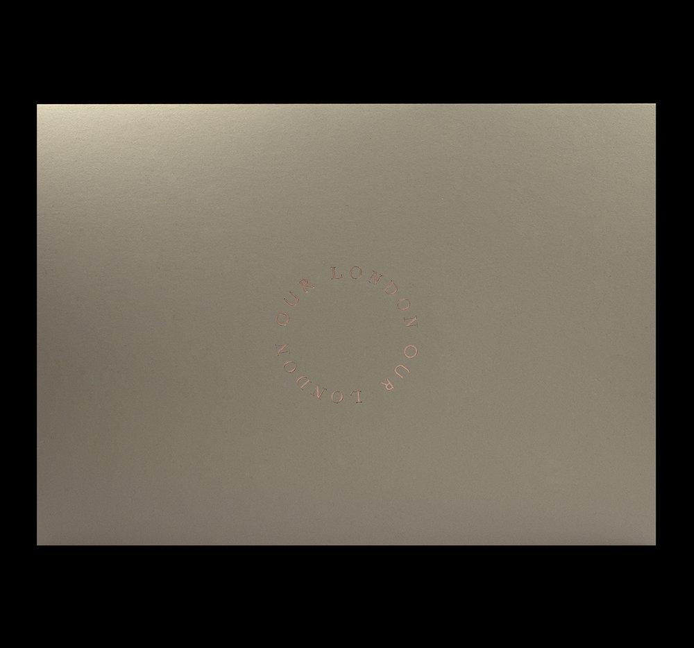 Cover rose gold foiled onto Curious Matter Andina Grey.
