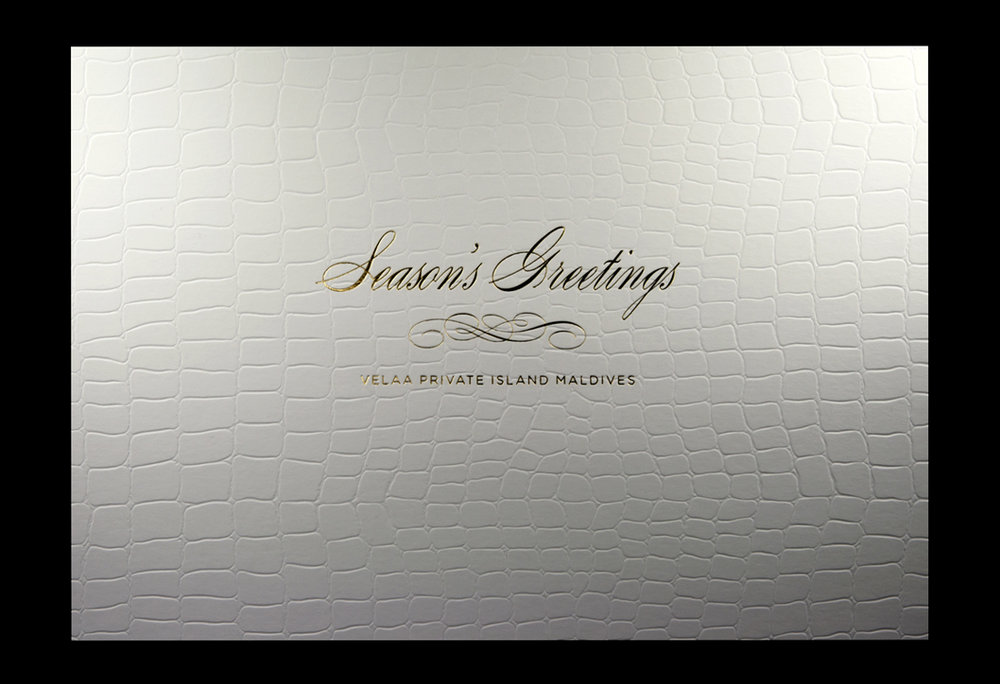 Gold foil onto constellation snow armadillo 350gsm textured card.