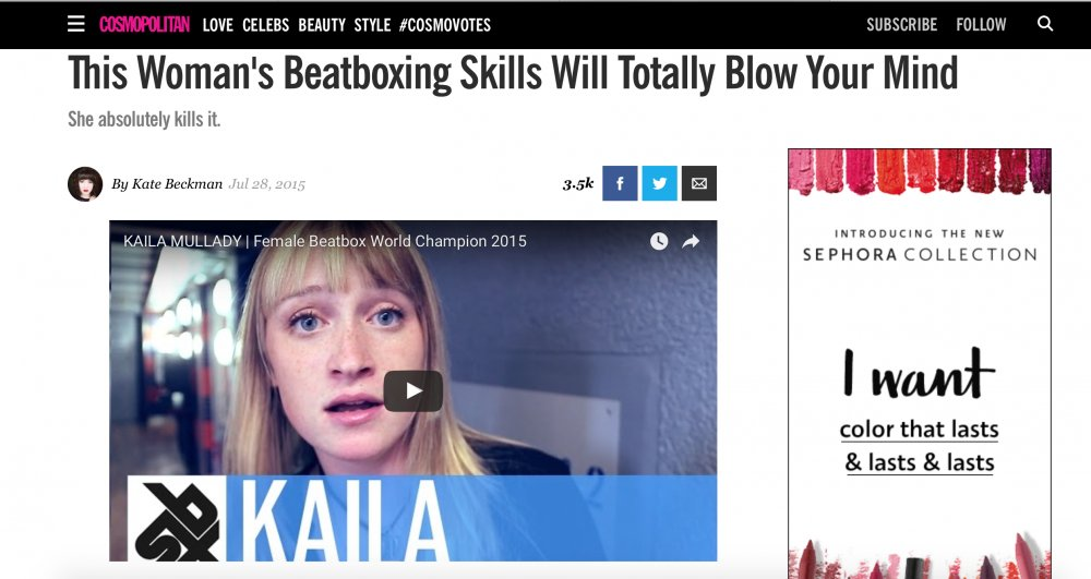 Cosmopolitan - http://www.cosmopolitan.com/lifestyle/a43958/woman-beatboxing-will-blow-your-mind/