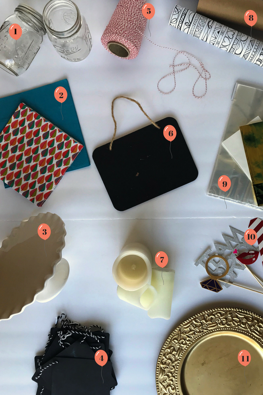1. MASON JARS | 2. NAPKINS | 3. CAKE STAND | 4. BANNER | 5. BAKER'S TWINE | 6. CHALKBOARD SIGNS | 7. CANDLES | 8. WRAPPING PAPER| 9. FAVOR BAGS | 10. PHOTO BOOTH PROPS | 11. CHARGER PLATES