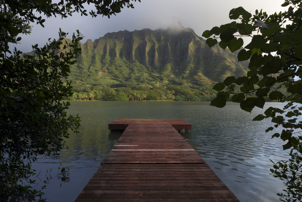 The Ko'olau Dock is a photograph from Oahu, Hawaii on Kualoa Ranch. The dock faces the Ko'olau mountains on the south edge of Molii Pond in Kualoa Regional pond. The red dock contrast the green mountain range which is shrouded in mist at sunrise. The photograph is peaceful and quiet and fits well with Jason's Comfortable Isolation theme to much of his work.