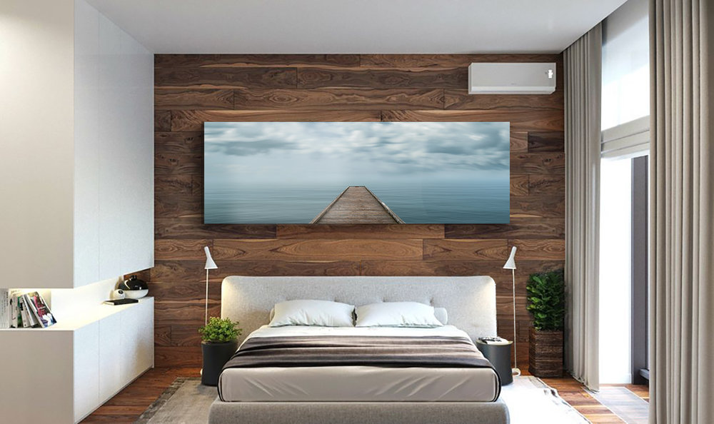 Edge of Solace, a fine art photograph by Jason Matias created in Seattle, Washington, hanging in a modern master bedroom as decor.