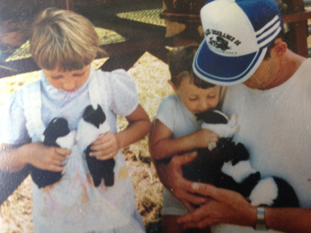 Me, my dad, and my little brother with baby bunnies.