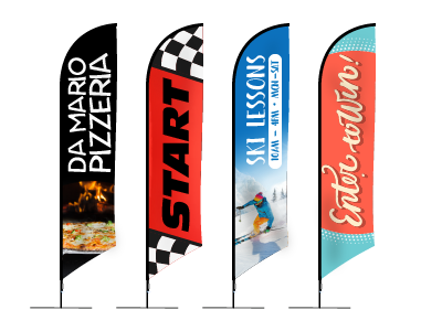 Angled Flags - Excellent outdoor display option. Variety of bases and carrying case available.