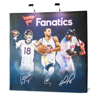 Pop Up Displays - Stretch fabric display that adheres with velcro strips to a pop up aluminum frame.
