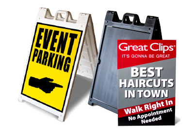 A-Frame Signs - The ultimate in sidewalk signage. Includes durable plastic frame & custom graphic.