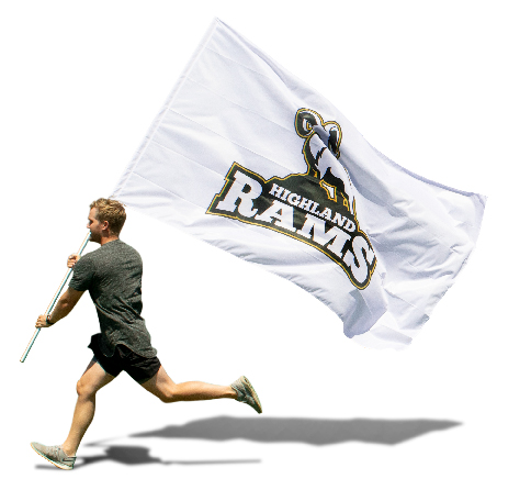 Spirit Flags - Single or double sided custom spirit flags made from durable 4 oz. polyester perfect for football games, cheer teams and more.