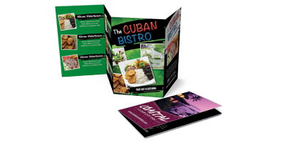 Mini Menus - Mini Menus are also known as Pocket Menus. These menus are printed on our coated and uncoated book stock. They are usually folded for convenience to place into someone's pocket.