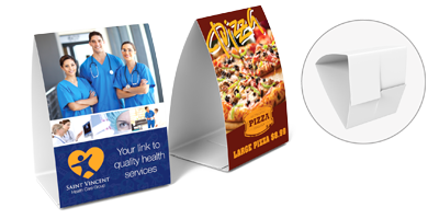 Table Tents - Table Tents are printed on one side only. They have (3) die scores and (2) die slits to create an easy interlocking system. Even-though the Table Tents are shipped flat they are quick and easy to assemble to form a 2-sided tent shaped marketing piece.