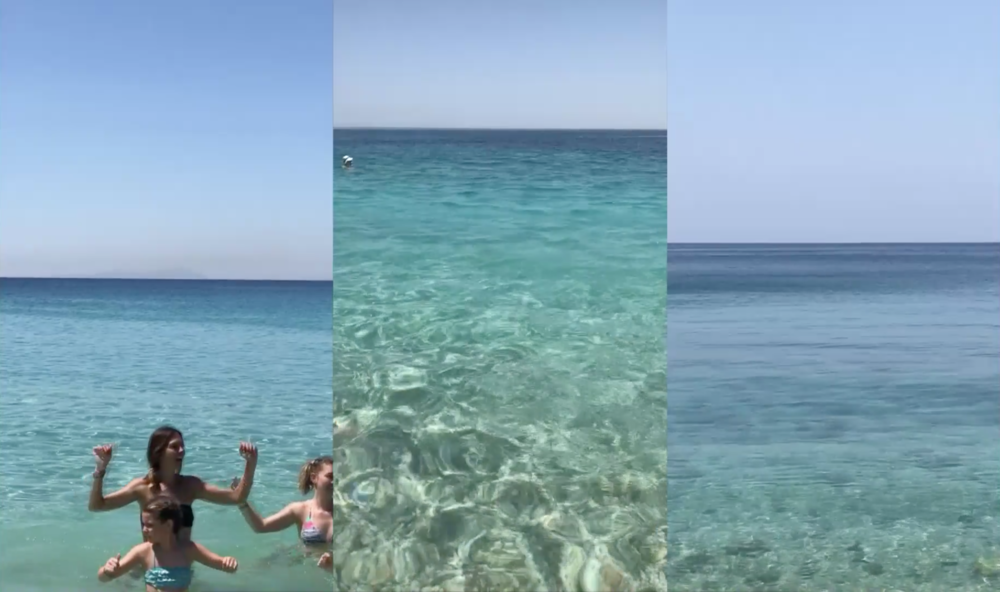 PROKOPIOS - Video triptychsBazeos Tower 2018In these playful, meditative triptychs set on Agios Prokopios beach (Naxos, Greece), one is a voyeur and participant in a lyrical interplay of people's individual rituals with the sea. The horizons become a structural element, like an ascending staircase. The water appears to breath. The impression is that of a moving painting.