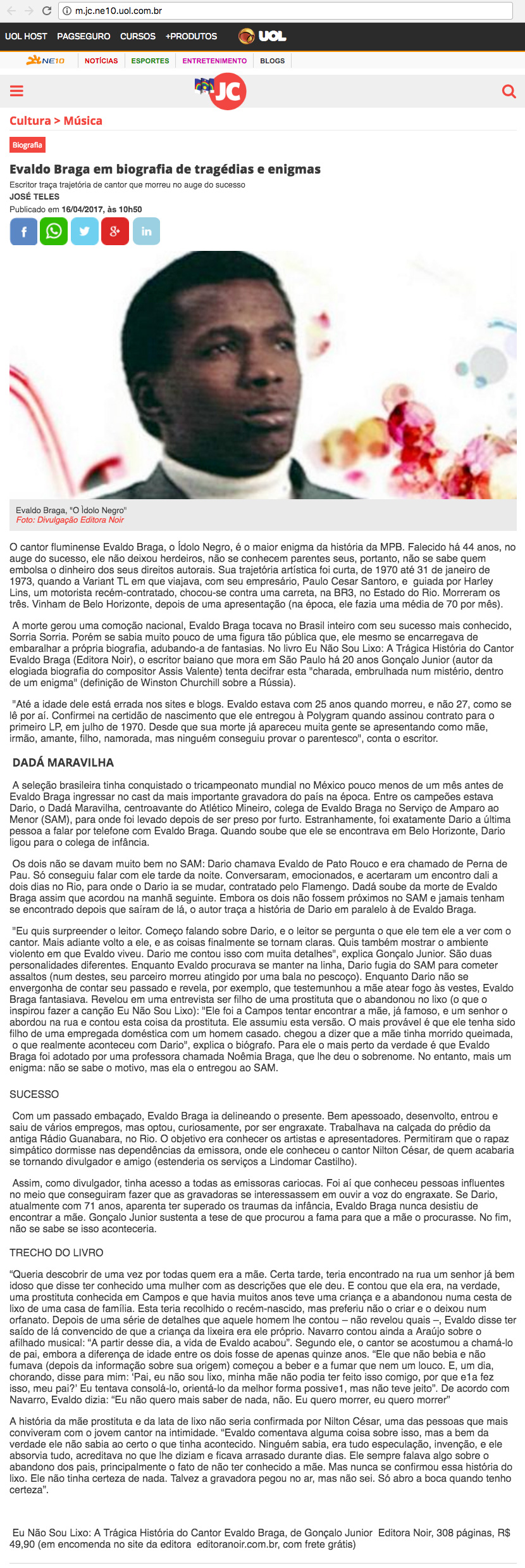 Jornal do Comércio  Recife – 16/4/2017