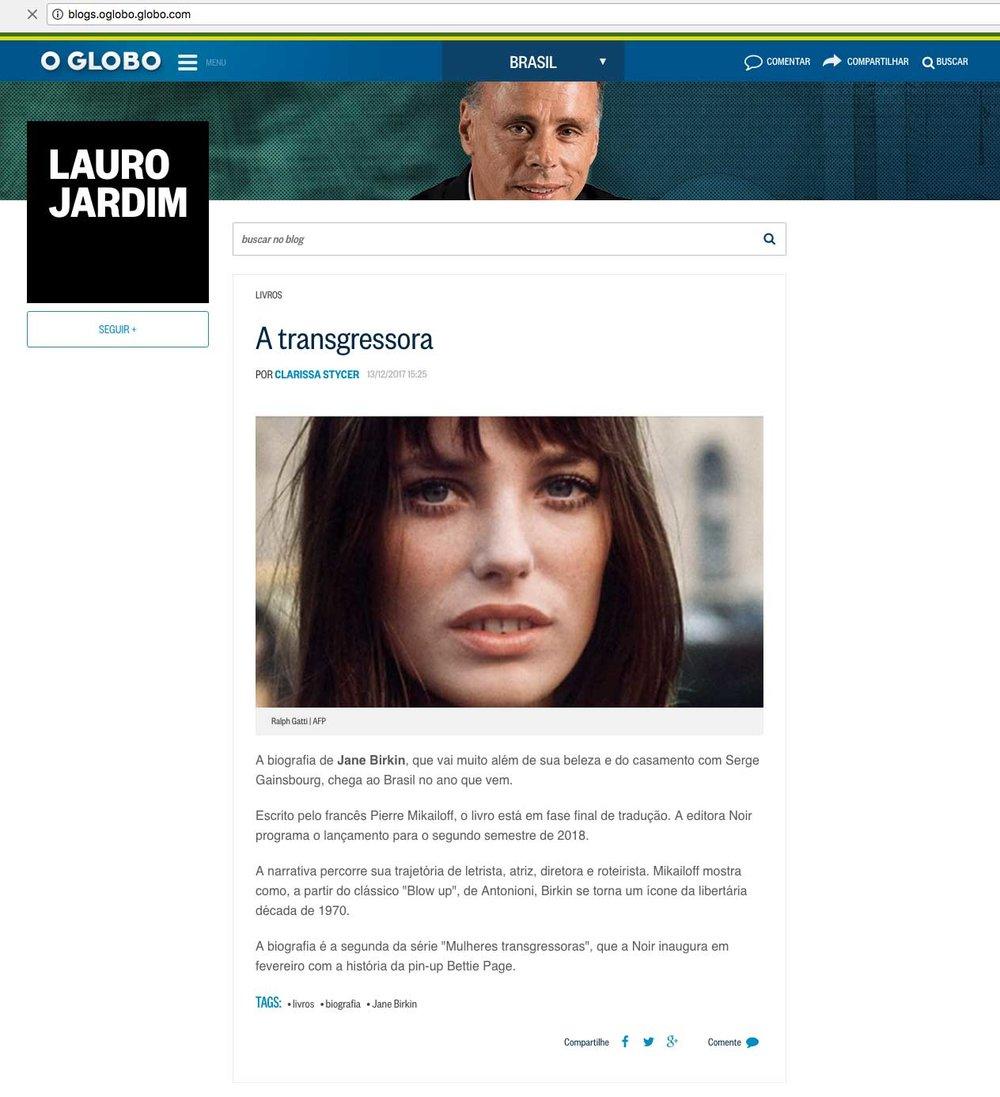O Globo  Rio de Janeiro – 13/12/2017