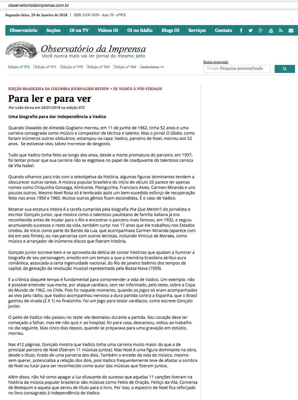 Observatório da Imprensa  São Paulo – 29/1/2018