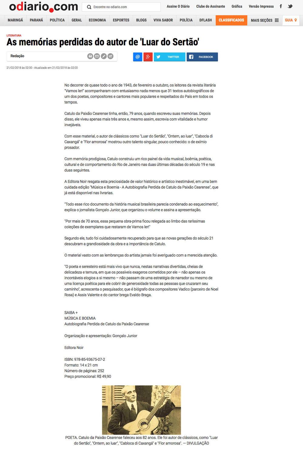 O Diário de Maringá  Maringá – 21/2/2018