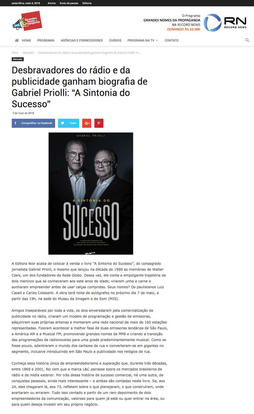 Grandes Nomes da Propaganda  São Paulo – 3/5/2018