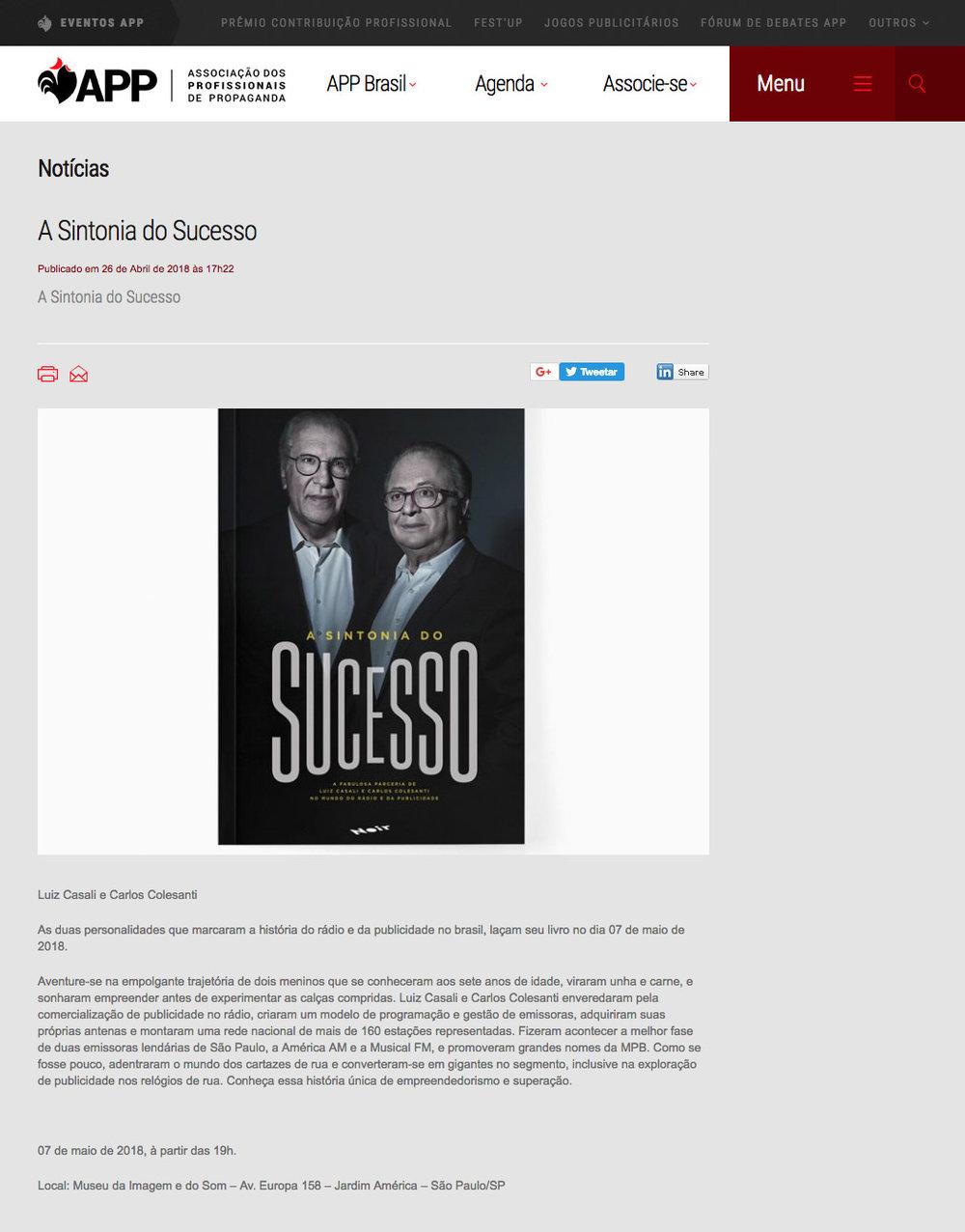 Associação dos Profissionais de Propaganda  São Paulo – 4/5/2018
