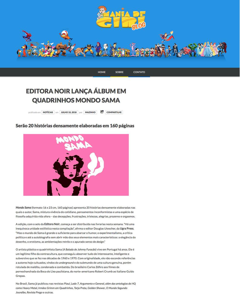 Mania de Gibi  São Paulo – 10/7/2018